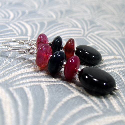 tourmaline gemstone earrings, handmade gemstone jewellery, semi-precious stone earrings