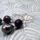 drop earrings handmade pearls amethyst