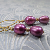 rich cranberry coloured freshwater pearls