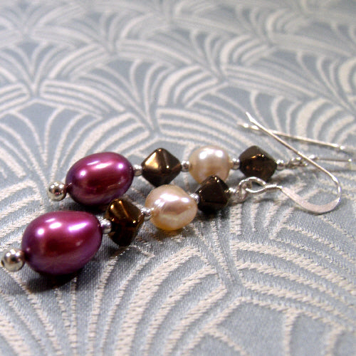 long drop pearl earrings, unique handmade jewellery earrings, long earrings