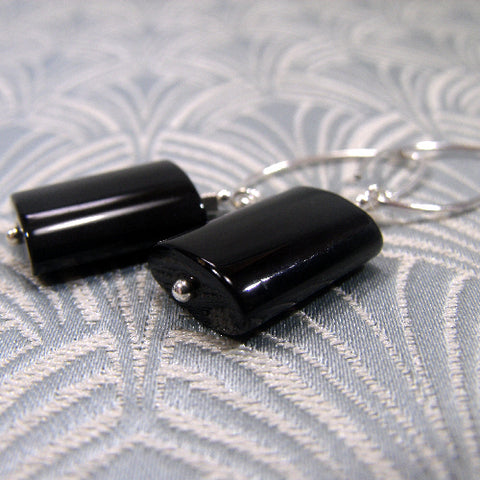 Long Black Semi-Precious Earrings, Long Drop Black Onyx Earrings (A14)