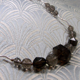 smoky quartz necklace uk, unique gemstone necklace, quartz handcrafted necklace jewellery uk