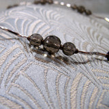 smoky quartz silver beads