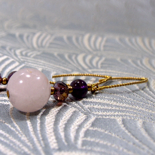 long rose quartz earrings, long drop semi-precious earring jewellery, unique handmade jewellery