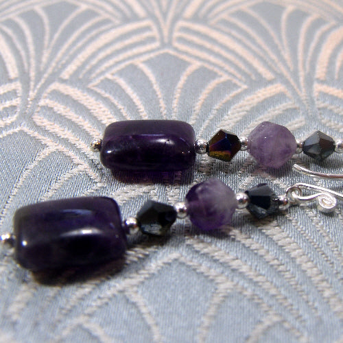 long drop amethyst earring jewellery, handcrafted earrings, semi-precious stone jewellery handmade uk