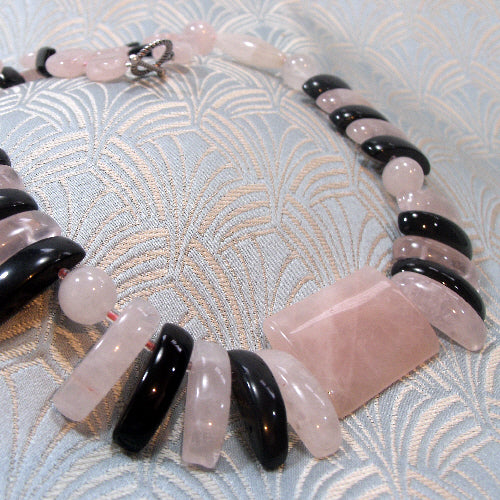 rose quartz necklace, semi-precious stone necklace jewellery, handmade jewellery necklace uk