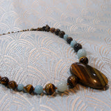 tigers eye necklace with amazonite beads