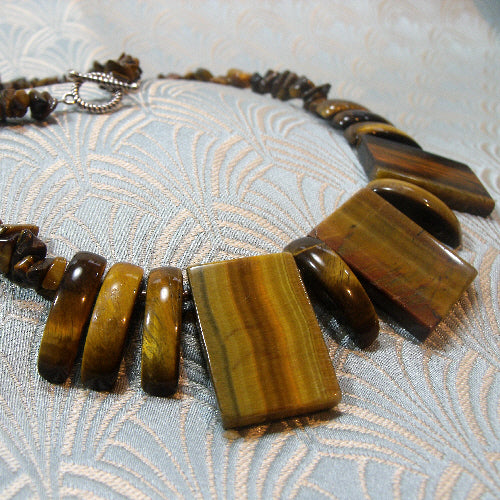 tigers eye necklace, unique gemstone jewellery uk, handmade necklace