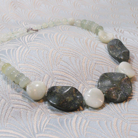 Green Jade Necklace, Pale Green Jade Jewellery UK (A63)
