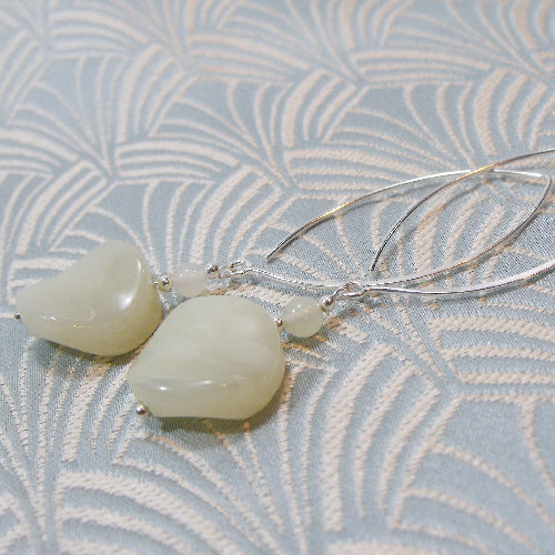 long jade earrings, handcrafted jewellery, semi-precious gemstone earrings