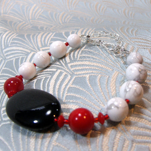Red, Black Handmade Bracelet (E3)