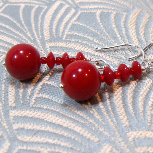 bright red earrings, unique semi-precious stone jewellery, handmade earrings