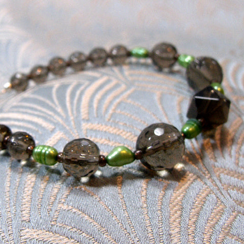Smoky Quartz Unique Bracelet, Semi-Precious Bracelet  (E4)