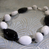 black white gemstone necklace