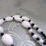 black white semi-precious stone necklace