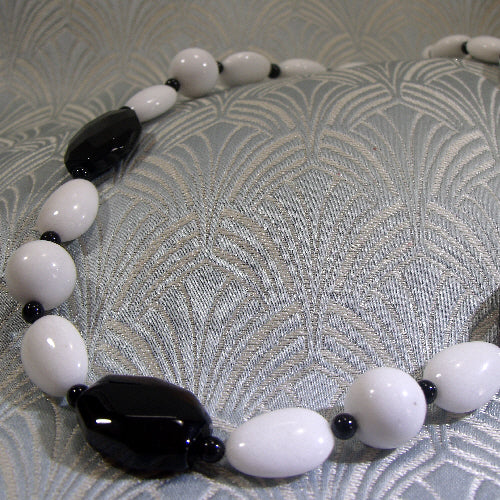 black white necklace, unique semi-precious jewellery, handmade necklace