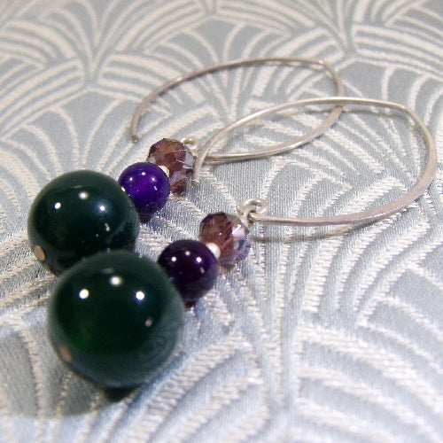 long drop agate earrings uk, long handmade earrings uk, gemstone jewellery