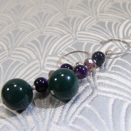 long drop agate earrings uk, long green gemstone earrings, semi-precious stone jewellery