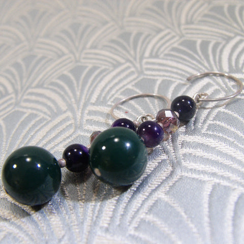Long Semi-Precious Earring, Long Agate Gemstone Earrings (A27)