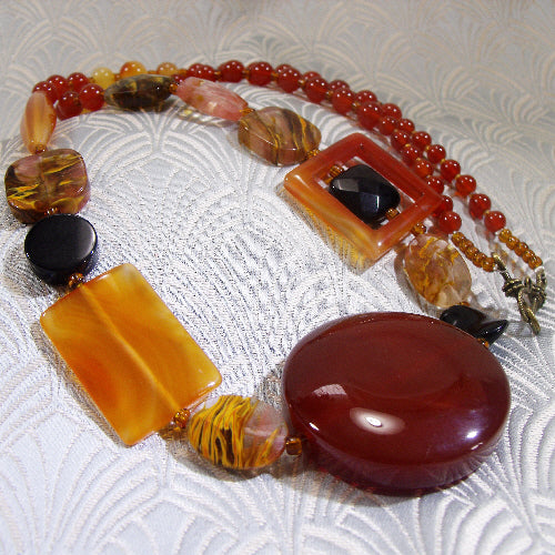 long semi-precious stone necklace, handmade jewellery necklace, long gemstone necklace