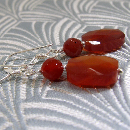 carnelian drop earrings, semi-precious stone jewellery earrings, handmade earrings