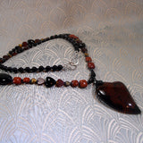 long agate gemstone pendant necklace