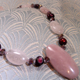 rose quartz jewellery necklace, handmade jewellery uk, semi-precious gemstone necklace