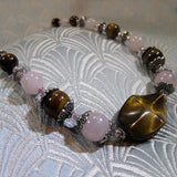 rose quartz semi-precious stone necklace