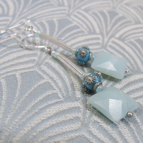 long amazonite earrings, handmade earrings, semi-precious stone jewellery
