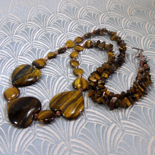 tigers eye jewellery necklace, handcrafted jewellery uk, semi-precious stone necklace