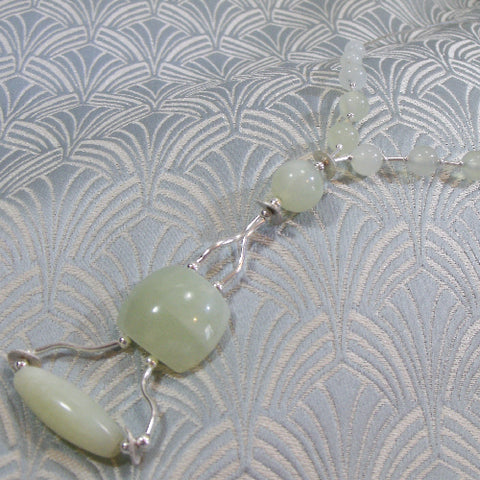 Sterling Silver Jade Necklace UK Crafted, Jade Jewellery (A84)