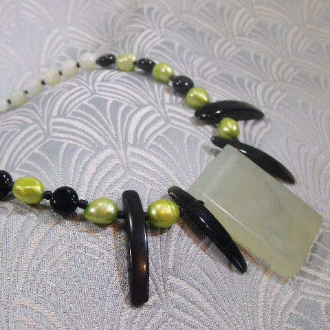 Green Jade Necklace With Pearls, Pearl Jade Jewellery UK (A85)