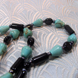 onyx turquoise semi-precious necklace long length