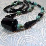 long semi-precious gemstone necklace with onyx turquoise beads