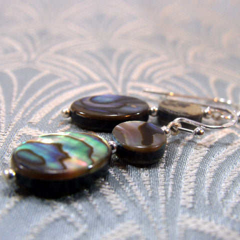 Paua Shell Earrings Handcrafted UK, Unique Handmade Jewellery UK