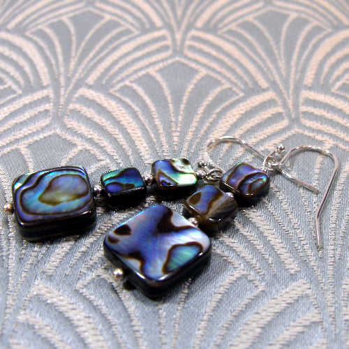 paua shell earrings handmade uk, unique handcrafted jewellery