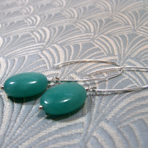 Long Drop Green Earrings, Long Semi-precious Stone Earrings (A39)