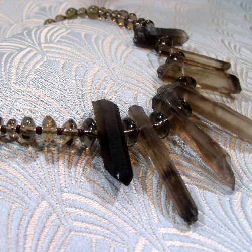 smoky quartz necklace, handcrafted gemstone jewellery uk
