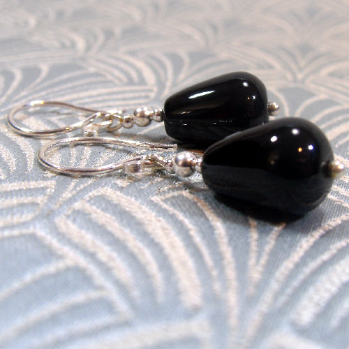 black onyx earrings, handmade semi-precious stone earrings