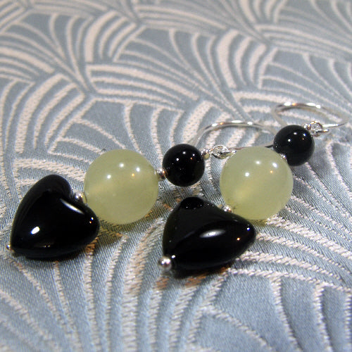 unique jade earring jewellery uk, handmade semi-precious stone jewellery uk
