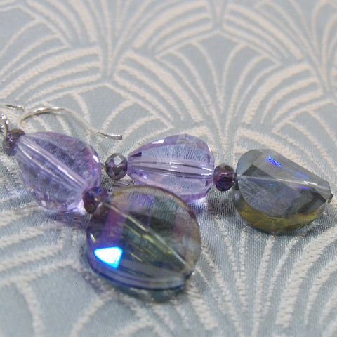 Lilac Crystal Earrings UK, Crystal Drop Handmade Earrings UK
