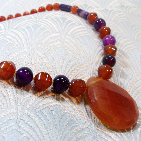 Gemstone Pendant Necklace, Semi-Precious Carnelian Necklace
