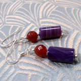 purple agate drop earrings uk