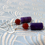 purple gemstone earrings handmade agate