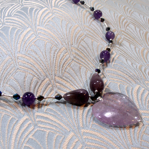 amethyst necklace, unique handmade gemstone jewellery uk