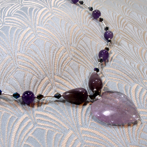 Handmade Amethyst Necklace, Semi-Precious Stone Jewellery UK