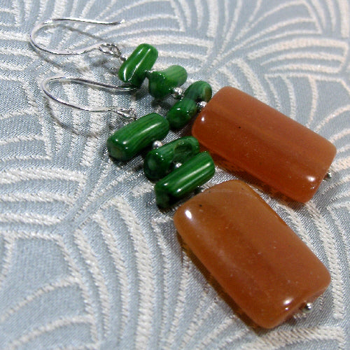 red aventurine earrings,  unique semi-precious jewellery