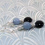 handmade grey black agate earrings