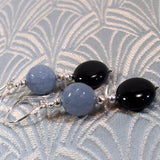 grey black agate earring design