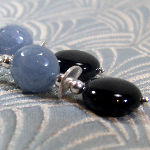 grey black agate earrings, handmade semi-precious jewellery, unique agate jewellery uk